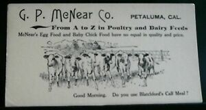 Details about 1910 era Original G P  McNear Co  Cute Calf Meal Advertising  Card Petaluma, CA