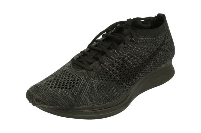 6e9d0f1ee3844 Mens Nike Flyknit Racer Shoes Size 8.5 Black Anthracite 526628 009 ...