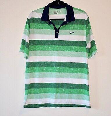 49af3412c Nike Golf Dri Fit Tour Performance Green Striped Polo Shirt Men Size L