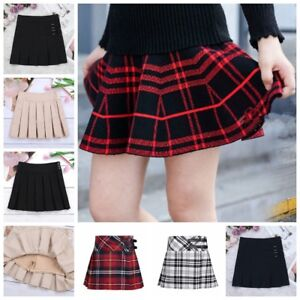 ac83cdd03e Image is loading Girls-School-Uniform-Plaid-Skirt-Pleated-Scooters-Skort-