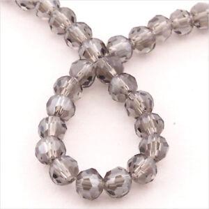 Lot-de-50-perles-a-FACETTES-4mm-en-Cristal-de-Boheme-Black-Diamond