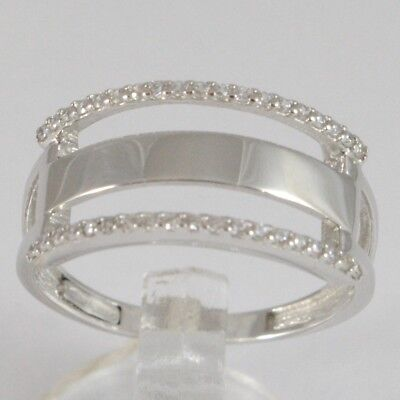 Made IN Italy Abrazo Infinito con Zirconia Anillo de Oro Blanco 750 18 CT