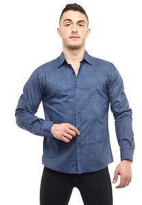 New Mens Caviar Dremes Long Sleeve Button Down Dress Shirt Paisley Navy Blue
