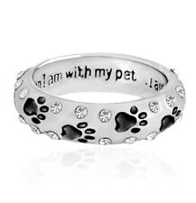 "Black Paw Rhinestone Ring Silver Pet Dog Cat 5 MM Band ""I am Complete"" USA ship"