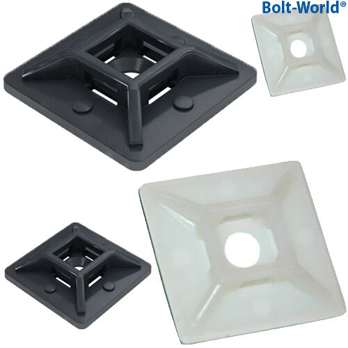 40mm x 40mm SELF ADHESIVE STICK ON CABLE TIE WIRE BASE MOUNTS BLACK WHITE