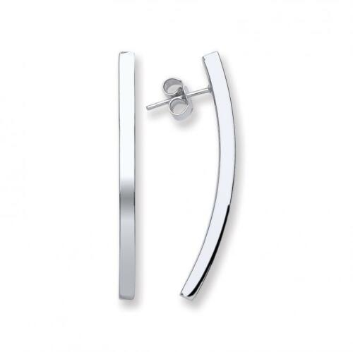 925 Sterling Silver Stick Tube Long Curved 4cm Drop Earrings Valentines Gift Box