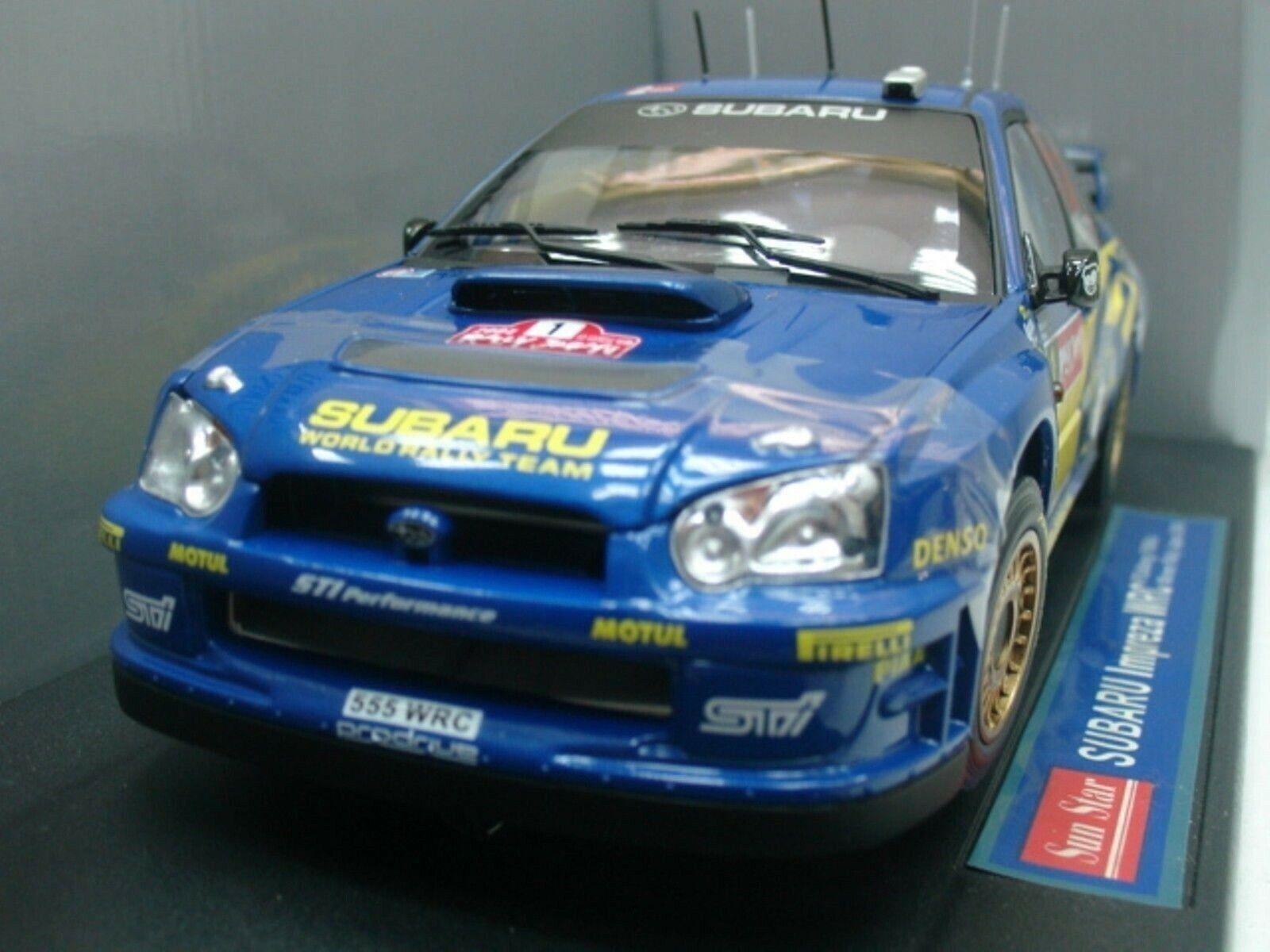 WOW EXTREMELY RARE Subaru Impreza 2004 WRC Solberg Japan 1 18 Sun Star-Auto Art
