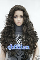 Fashion sexy Ladies Long Cosplay Curly Natural hair Wigs Dark brown + Wig Cap