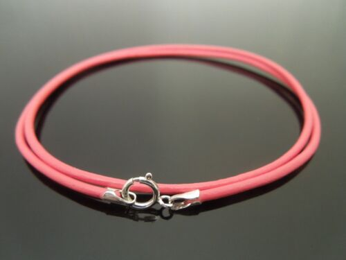 """1.5mm Pink Leather /& Sterling Silver Necklace Or Wristband 16/"""" 18/"""" 20/"""" 22/"""" etc"""