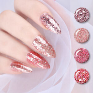Image Is Loading 5ml Rose Gold Gel Glitter Shiny Soak Off