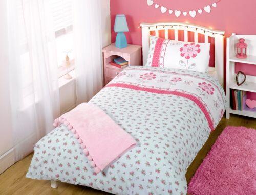 Pippa children/'s kids bedding set simple rose bleu clair fleur made with love