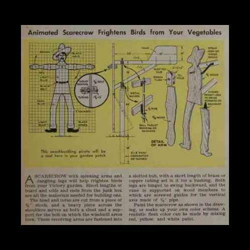 Scarecrow Animated Whriligig 1943 HowTo build PLANS