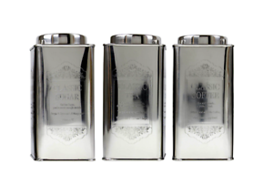 Image Is Loading Silver Coloured Tea Coffee Sugar Canisters Box Storage