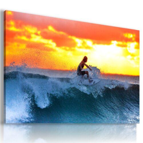 Sunset Surfing Sea Ocean Beach Water Sport Canvas Wall Art Picture SF9 MATAGA