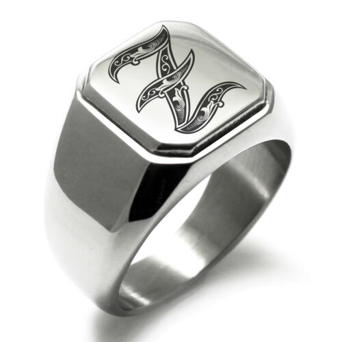 Stainless Steel Monogram Royal Initial Z Mens Square Biker Style Signet Ring