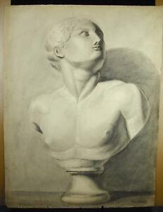 Eugène Cornet Dessin Xixe Original Buste D'un Romain Grecque à L'antique 62 Cm Apparence Attractive