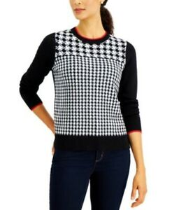 $89 Charter Club Women Houndstooth Sweater Black Pullover Long Sleeve Petite XS