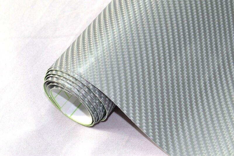 m2 4d Carbon Film-Argent 700 x 152 cm Flexible Voiture Film Adhésif Wrapping