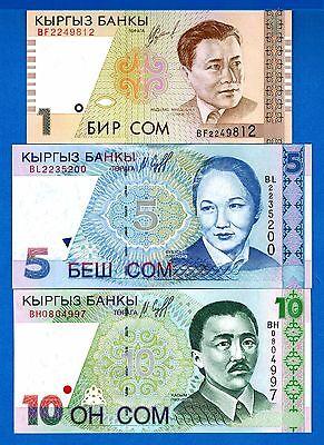 Kyrgyzstan P-13 P-14 P-15 Years 1997-99 Uncirculated Banknotes Set #2