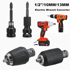 """1//2/"""" Drive To 1//4/"""" Hex Drill Chuck Converter Socket Adapter For Impact Wrench Y"""