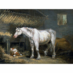 Morland-Old-Horses-With-Dog-Stable-Animals-Painting-XL-Canvas-Art-Print