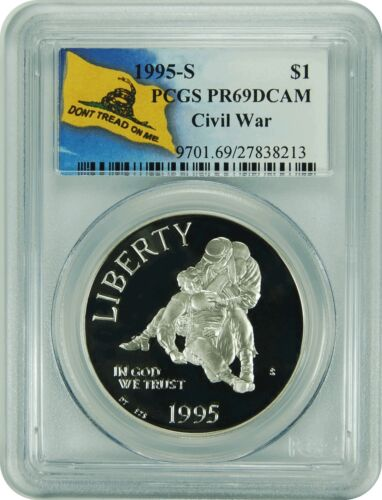 1995-S PCGS PR69DCAM Civil War Commemorative Dollar Don/'t Tread On Me