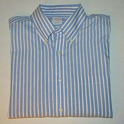Brooks Brothers Blue /& White Strip Shirt Size 16.5-35 No 7417