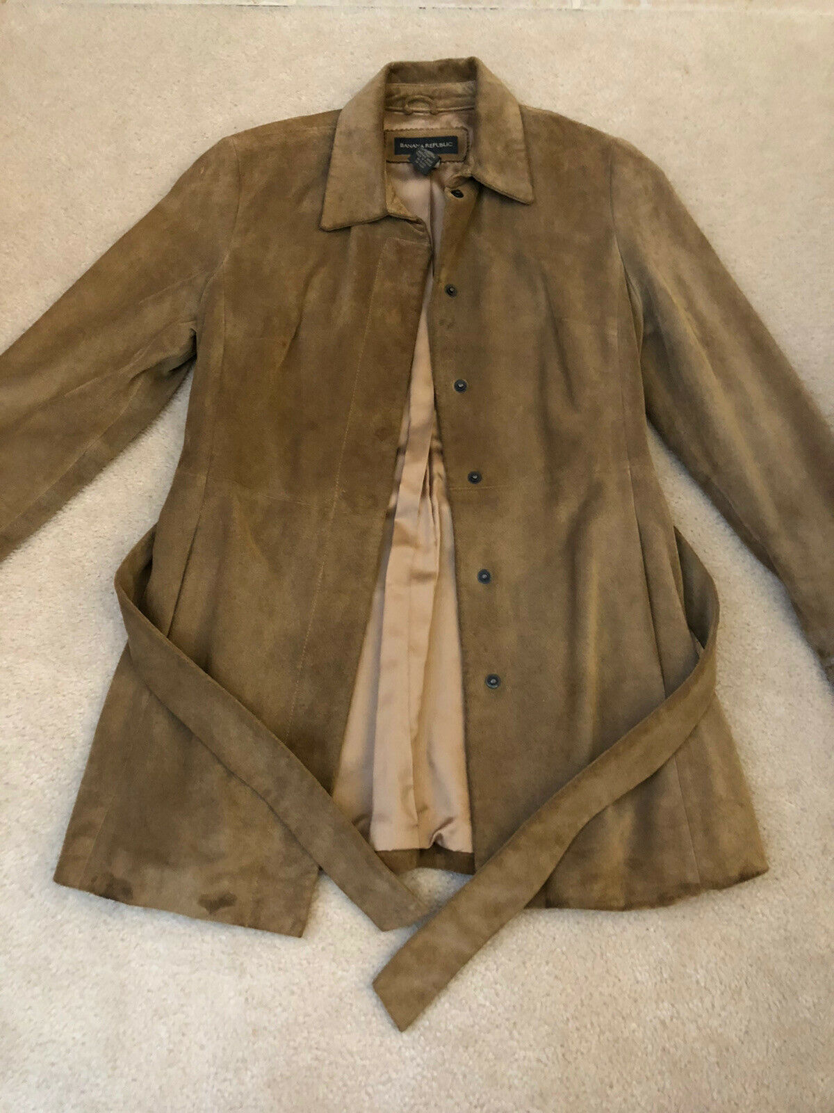 BANANA REPUBLIC Women's Belted Leather Suede Jacket Lined Brown Small