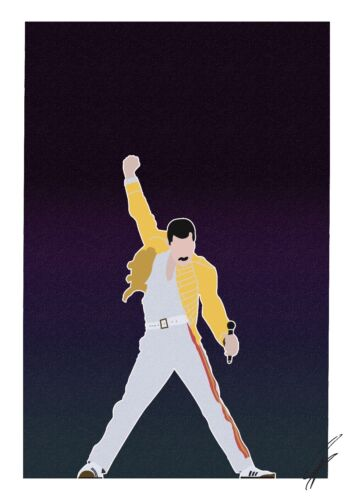 Freddie Mercury INSPIRED WALL ART Print Poster Minimal A4 A3 QUEEN Yellow