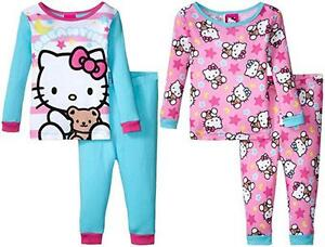 29546225f Hello Kitty Toddler Girls 4pc Snug Fit Pajama Pant Set Size 2T 3T 4T ...