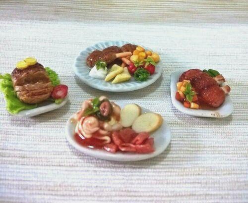 Dinner Set Roast Meat Dollhouse Miniatures Food Christmas Holiday Thanksgiving