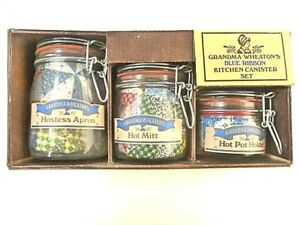 Details About Vintage Grandma Wheatons Blue Ribbon Kitchen Canister Set Apron Pot Holders New