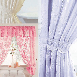 Windsor Lace Shower Curtains Liner Tie Backs White Cream Lilac
