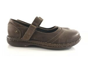 Womens-LL-Bean-Distressed-Brown-Leather-Mary-Janes-Walking-Shoes-Size-9-M