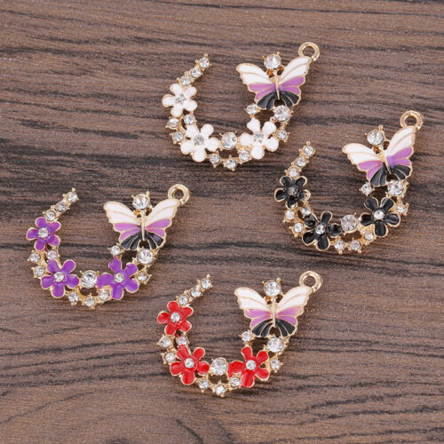 5pcs DIY Luxury Butterfly Wreath Oil Crystal Pendant Jewelry Making Beads Craft
