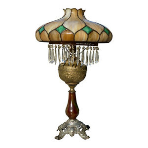 Antique-Rochester-Victorian-Crystal-Brass-Table-Lamp-w-Stained-Slag-Glass-Shade