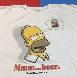 84001810e Homer Simpson Duff Beer The Simpsons Cartoon White Graphic T Shirt ...