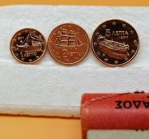 GRECE 2011 : 1 série de 3 pièces 1,2 et 5 cent de rouleaux