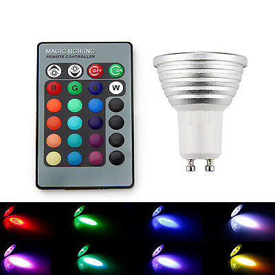 4x GU10 3W 16 Color Changing RGB LED Light Bulb DIMMABLE Lamp +IR Remote Control