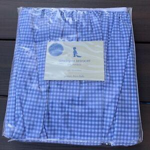 Pottery Barn Kids Blue Gingham Check Crib Bed Skirt Dust