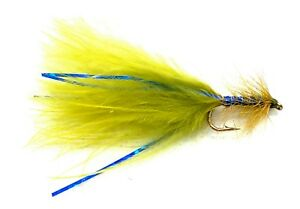 3 x Olive Marabou Damsel Trout Fly Lures Fluorescent Yellow Hot Head