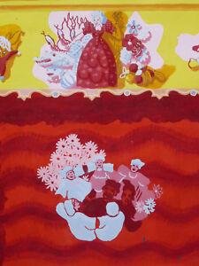 Theater-Handpuppen-Gouache-Gross-Projekt-Circa-1960-Kinder-Mutterschaft-Vintage
