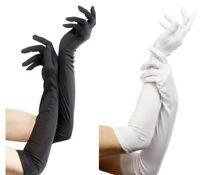 Ladies Long Black Evening Gloves Flapper 20s 30s Fancy Dress Opera Burlesque