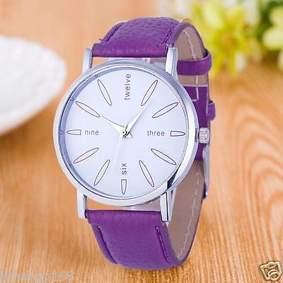 Fashion Women's Watch Stainless Steel Leather Band Quartz Analog Wrist Watches