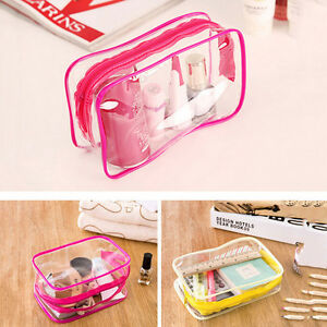 Details about PVC Clear Plastic Pouch Travel Bathing Toiletry Zipper Cosmetic Bag Chic SK