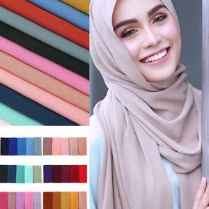 Fille-Femme-Mousseline-Echarpe-Foulards-Hijab-Musulman-Chale-Emballage-Head-Wrap