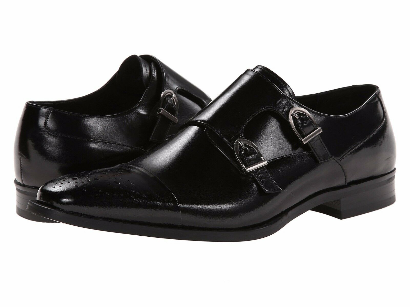 Men's shoes Stacy Adams Trevor Monkstrap Cap Toe Loafer 24943-001 Black New