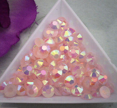 Jelly Lt.Peach AB Crystal Multiple faceted resin Flat Back Rhinestones clothes