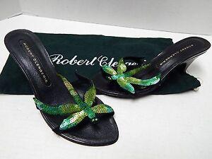 New-Robert-Clergerie-Paris-Sequin-Dragon-Fly-Heel-Slide-Sandals-France