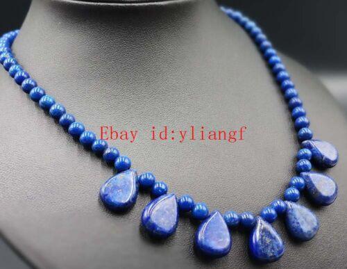 Natural 6mm Lapis Lazuli Genstone Beads Drop Pendant Necklace 18/'/' AAA